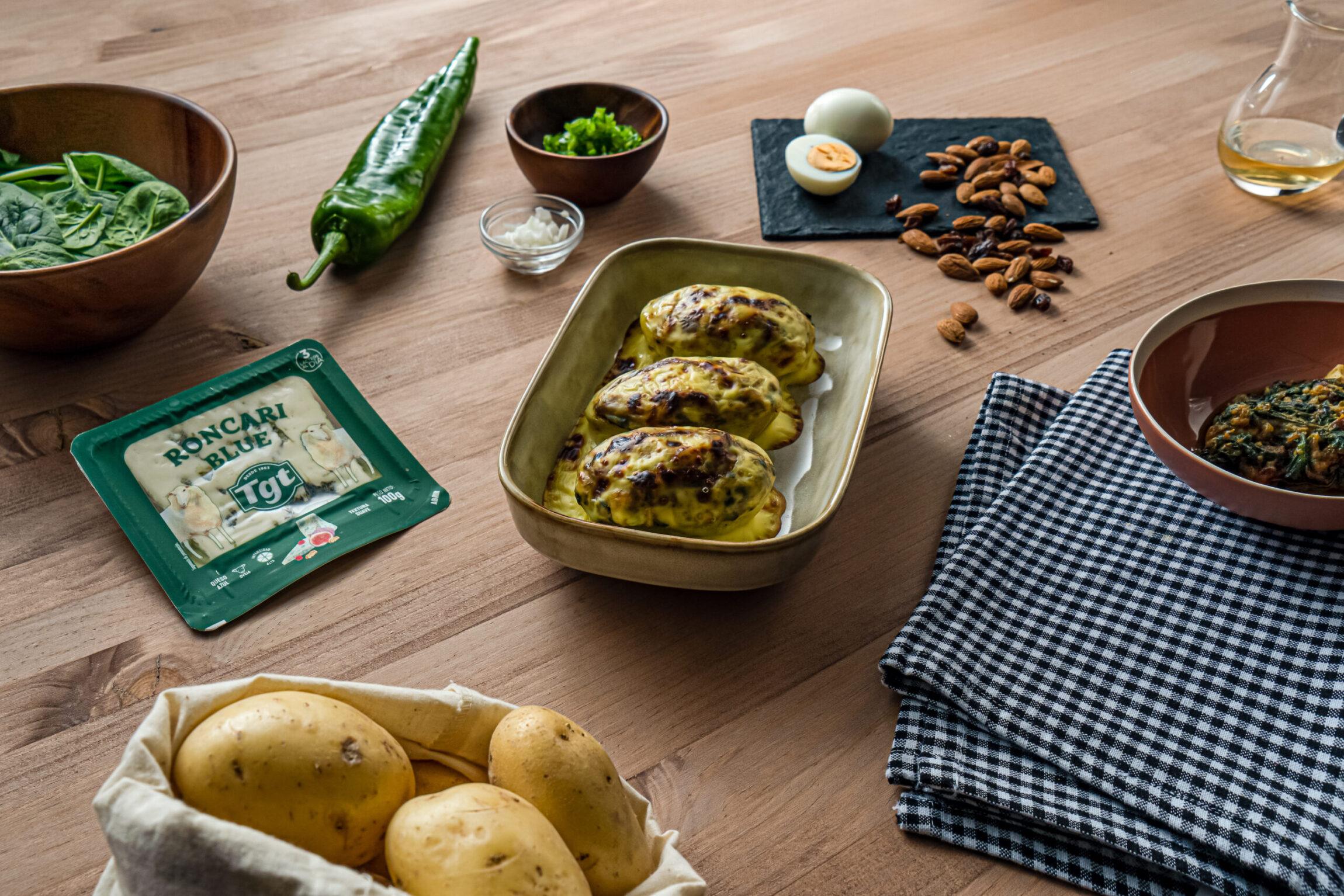patatas rellenas de espinacas y queso Roncari Blue