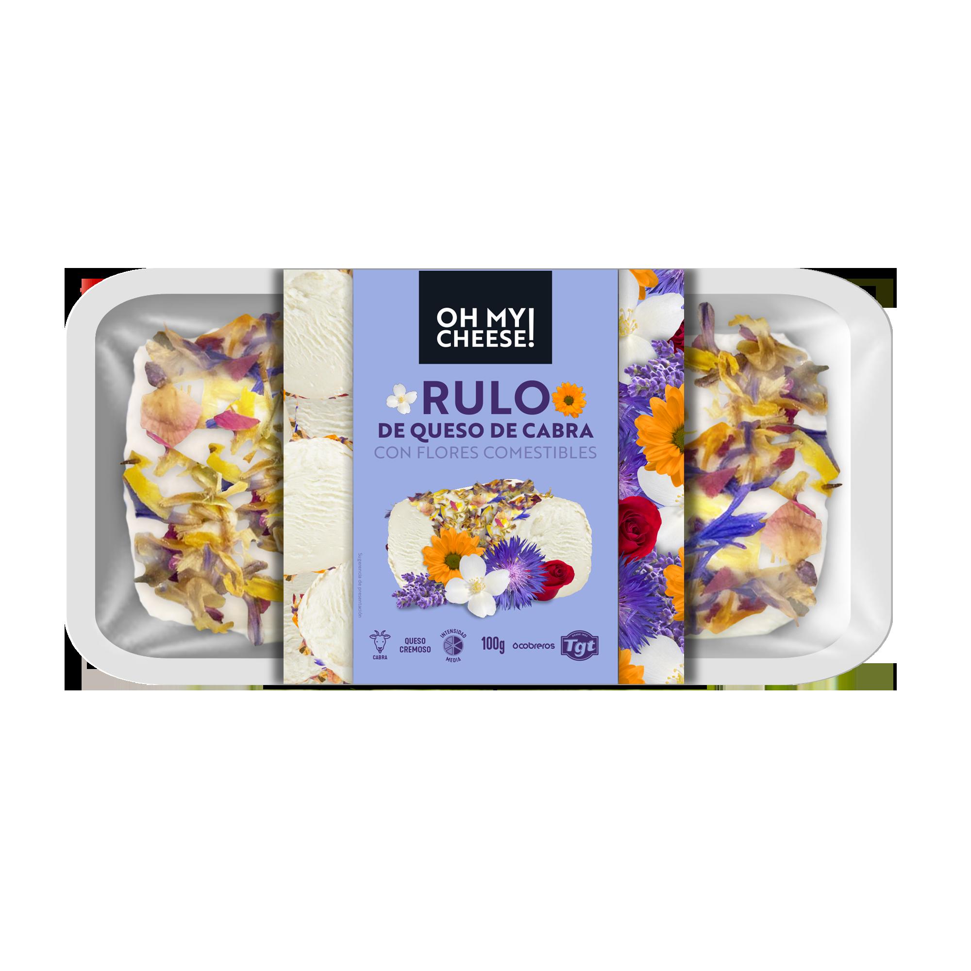 Rulo de queso de cabra con flores comestibles
